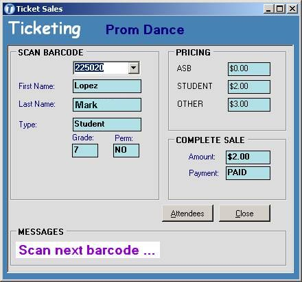 Ticketing 4 Schools Screenshot